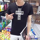 短袖T恤 夏季男圓領男裝修身印花青少年潮流衣服《印象精品》t26