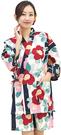 Nishiki【日本代購】和式清涼居家服 睡衣 上下套裝 棉100%-椿に縞