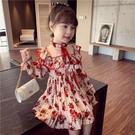 洋裝 童裝新款韓版兒童洋裝連衣裙春夏乖巧甜美風中大童印花雪紡公主裙 快速出貨