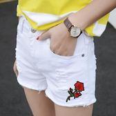 夏季學生白色刺繡破洞牛仔短褲顯瘦闊腿熱褲~