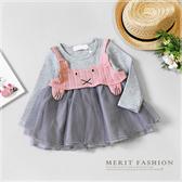 小兔針織背心兩件式紗裙洋裝 長袖 粉色 紗裙 寶寶衣服 嬰兒長袖 嬰兒童裝 嬰兒衣服 哎北比童裝