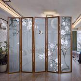 實木新中式屏風隔斷牆客廳折屏折疊行動玄關簡約現代美容院酒店 xw  快速出貨