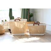 黃麻布藝購物袋防水大小號簡約手提袋袋   LannaS