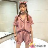 春夏韓版條紋短袖睡衣 短褲套裝