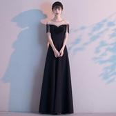 高端晚禮服女新款宴會氣質主持人長款氣場女王大氣黑色連身裙 艾瑞斯居家生活