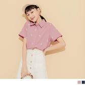 《KG1047-》夏日冰淇淋印花排釦短袖襯衫上衣 OB嚴選