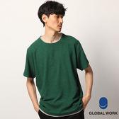 GLOBAL WORK男素色圓領落肩棉T拼接下襬假兩件短袖T恤上衣-四色