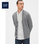 Gap男裝柔軟美利奴羊毛長袖開襟針織衫474786-灰色