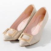GREEN PINE 時尚魅力 方型飾釦優雅高跟鞋  -米色