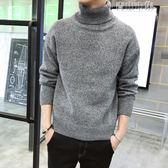 高領毛衣男韓版針織衫打底黑色修身潮流帥氣男士粗毛線衣 青山市集