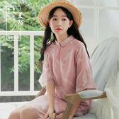 改良版旗袍中國風連身裙甜美仙女裙復古寬鬆粉紅少女系裙子2018新 卡米優品