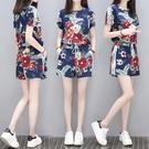 運動套裝 跑步運動服印花時髦寬鬆休閒套裝大碼短袖短褲時尚兩件套夏-Ballet朵朵
