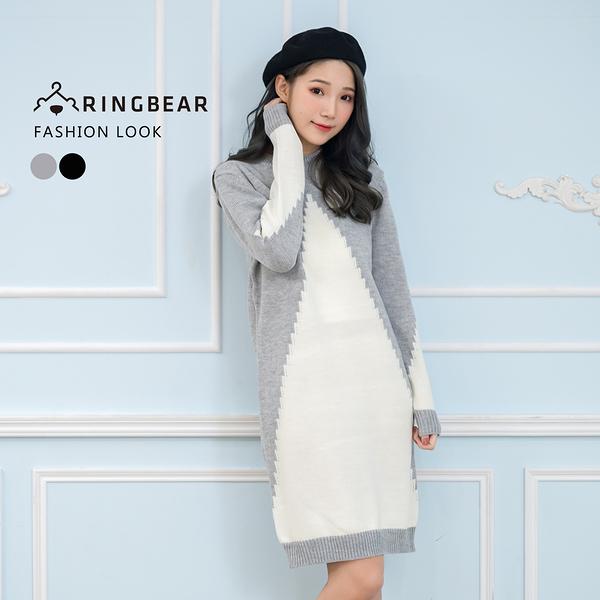 連身裙--優雅氣質時尚幾何羅紋圓領織紋貼身魚尾針織毛衣裙(黑.灰L-3L)-A327眼圈熊中大尺碼
