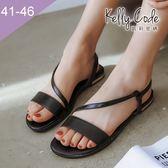 大尺碼女鞋-凱莉密碼-夏日性感網狀斜帶真皮羅馬平底涼鞋2cm(41-46)【YGL626】黑色
