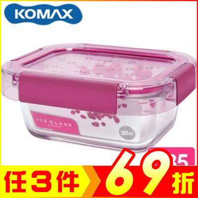 韓國 KOMAX 冰鑽長形強化玻璃保鮮盒 粉 385ml 59853【AE02267】99愛買生活百貨