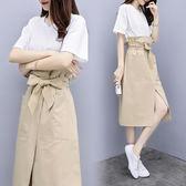 VK精品服飾 韓國風假兩件拼接收腰裙小心機開叉氣質短袖洋裝