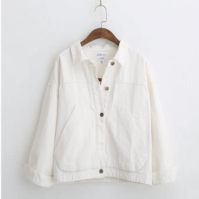 【E104-0275】韓系純色牛仔外套-(2色)口袋夾克上衣(SIZE:M.L)☆貝兒