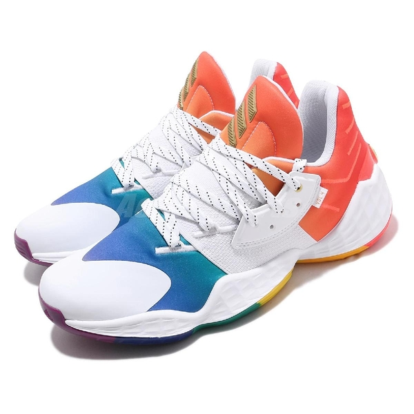 adidas 籃球鞋 Harden Vol.4 GCA Pride 白 彩色 男鞋 彩虹系列 哈登 運動鞋【ACS】 FX4797