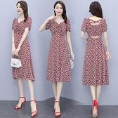 碎花洋裝2021年新款遮胯裙子顯瘦女夏輕熟風長裙收腰洋氣設計感 蘇菲小店
