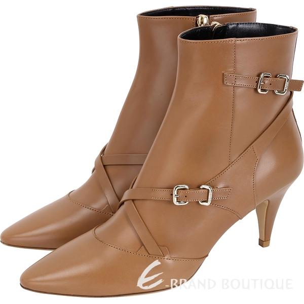 TOD'S Multi Buckle 小牛皮釦帶尖頭踝靴(棕色) 1840080-B3