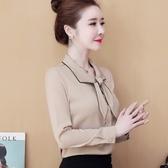 限時特購 襯衫女春新款韓版設計感小眾蝴蝶結飄帶長袖雪紡上衣洋氣襯衣