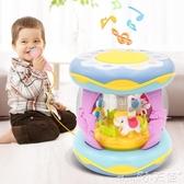 手拍鼓嬰兒玩具音樂拍拍鼓0-6-12個月寶寶早教益智旋轉木馬手拍鼓可充電 小天使