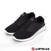 【AIRWALK】迴力追風編織慢跑鞋-黑-男款-
