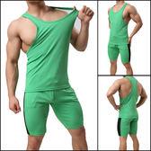 運動套裝男背心五分短褲兩件套夏季健身健美跑步休閒男裝高彈球衣【萬聖節八五折鉅惠】