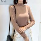 长袖T恤 韓版秋裝新款半高領修身純色莫代爾長袖t恤女 百搭打底衫薄款上衣 风尚3c