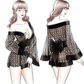 日式透明和服情趣內衣成人火辣騷冰絲性感睡衣女夏開衫大碼短睡裙  麥吉良品
