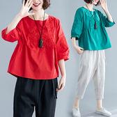 民族風2019夏季新款寬鬆大碼燈籠袖刺繡棉麻襯衫女上衣顯瘦娃娃衫