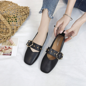 豆豆鞋女 2019新款夏季平底奶奶鞋複古淺口單鞋軟皮方頭瑪麗珍鞋子