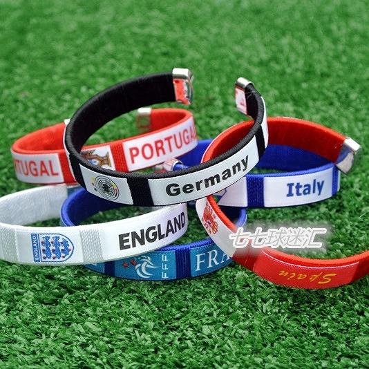 歐洲杯球迷紀念品禮品德國法國西班牙意大利荷蘭英格蘭球迷手環 初色家居館