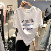 韓版2019夏裝新款春裝小魚刺繡白色純棉大碼寬鬆T恤女Ins超火短袖QM 莉卡嚴選