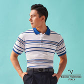 【Emilio Valentino】彈力機能運動休閒衫-白/藍條