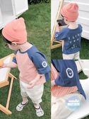 兒童上衣 寶寶短袖夏季薄款男童格子布撞色拼接T恤兒童笑臉半袖上衣 1色