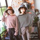 休閒配色條紋粗針織上衣-N-Rainbow【A30-8210】