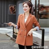 秋裝新款網紅chic小西裝外套中長款寬鬆韓版長袖女西服上衣潮 居家物語