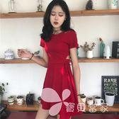 韓國chic風復古小心機性感鏤空顯瘦系帶小黑裙夏季修身短袖連身裙