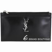 YSL Saint Laurent MONOGRAM 銀字小牛皮拉鍊手拿包(黑色) 1930071-01