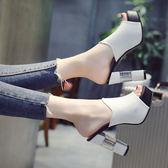 37碼/白色 37碼/黑色 高跟拖鞋 時尚外穿百搭一字型粗跟魚嘴涼拖