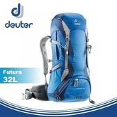【Deuter 德國 Futura 32L 網架透氣健行登山背包《藍/深藍》】34254/雙肩背包/後背包/攻頂包/★滿額送