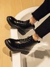 馬丁靴 冬季馬丁靴男加絨英倫風韓版休閒學生百搭厚底增高防水高幫皮鞋男【快速出貨八折鉅惠】