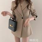 西裝外套 網紅垂感炸街小西裝外套女春秋韓國版英倫風寬鬆休閒黑色西服上衣 韓菲兒