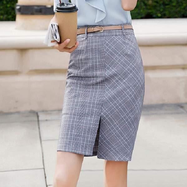前後開岔學院格紋風OL短裙(不含腰帶) ~8X202-PF ~美之札
