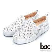 【bac】街頭運動-沖孔鏤空透氣厚底懶人休閒鞋-(白色)