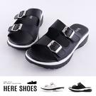 [Here Shoes]拖鞋-MIT台灣製 跟高3.5cm 皮質厚底涼拖鞋 繫帶扣環造型鞋面設計 簡約黑白配色-KW6889