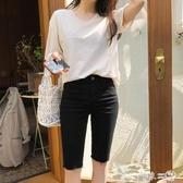 黑色五分褲女牛仔緊身顯瘦2020夏季新款韓版網紅騎行中褲彈力高腰 第一印象