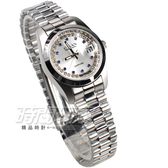 OMAX 閃耀時尚 城市圓錶 銀色不銹鋼帶 藍寶石水晶 鑽錶 女錶 日期視窗 OM4003BD小