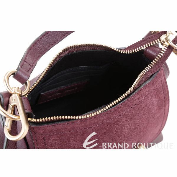 SEE BY CHLOE Joan 迷你款 編織金屬環拼接皮革手提肩背包(紫紅色) 1840186-87